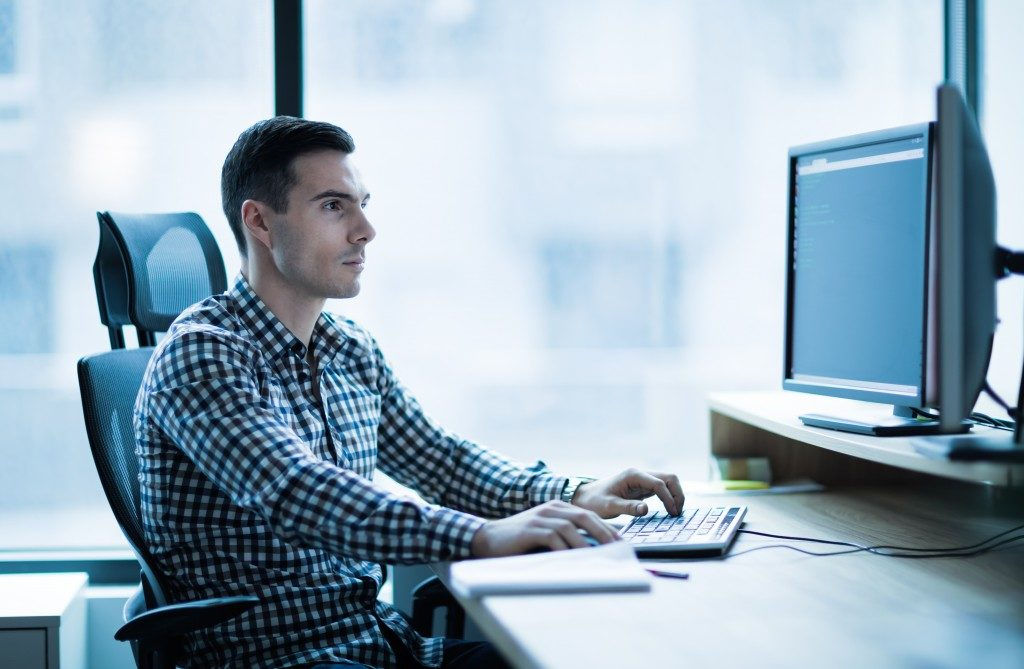 One of the IT team working