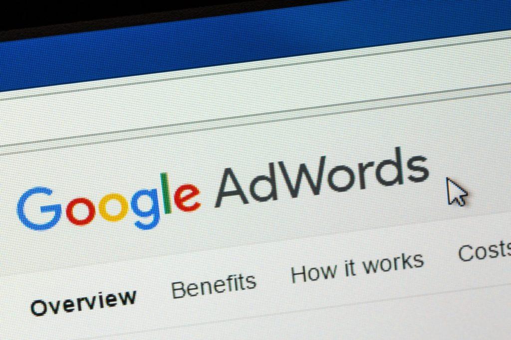 Google Adwords page