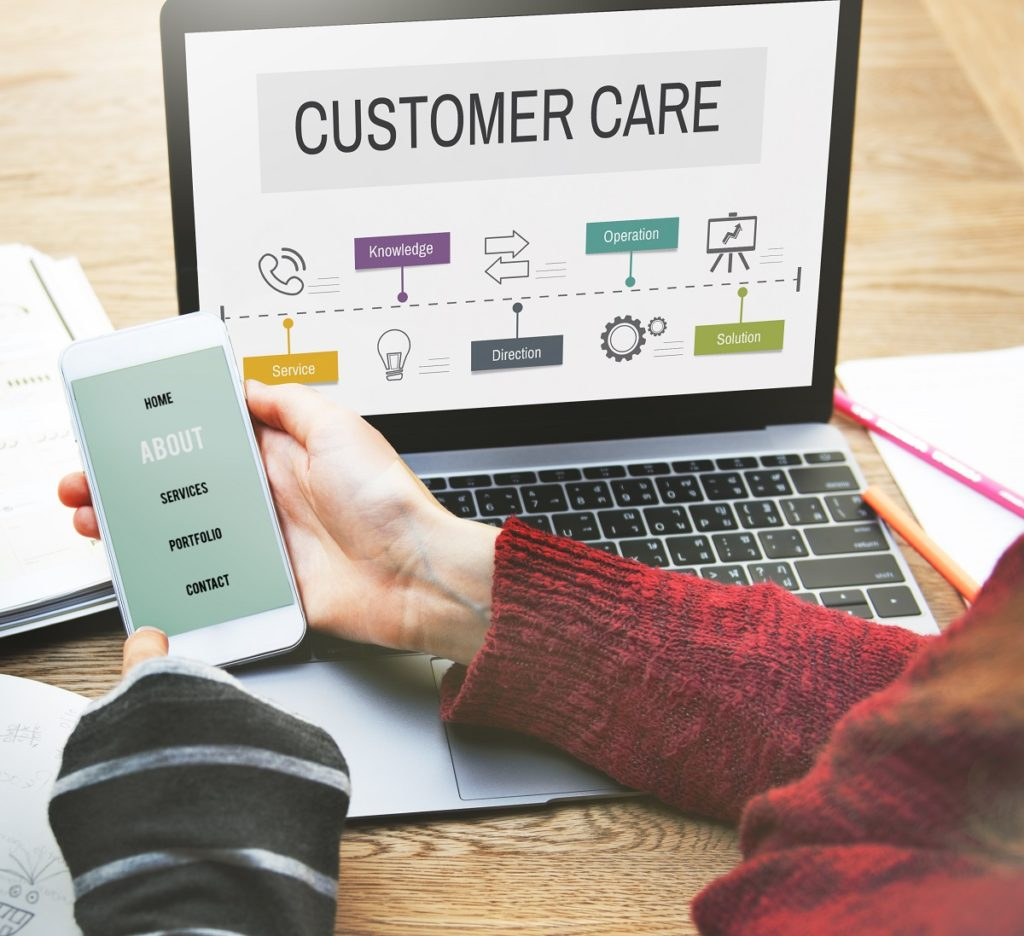 customer care page on laptop and phone screens