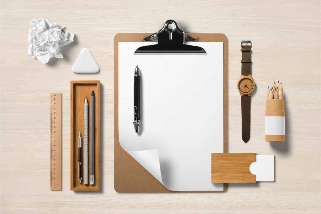 wood accent designed office supplies