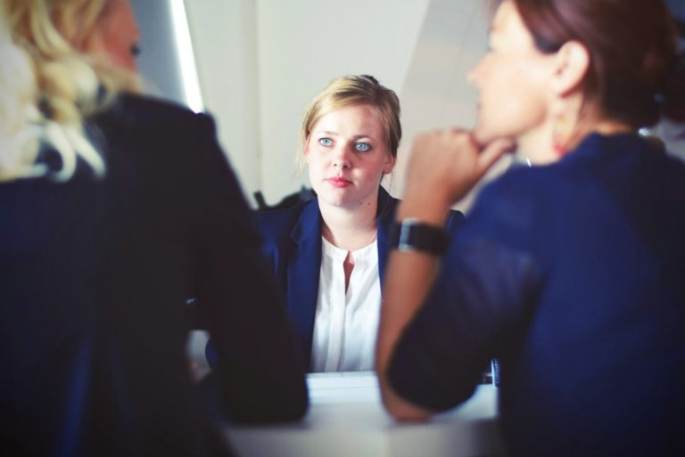 woman during an interview