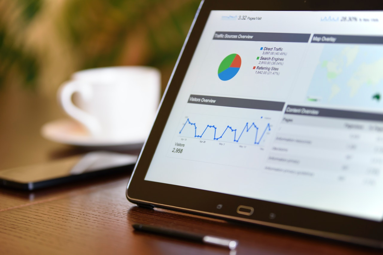 analytics chart on tablet