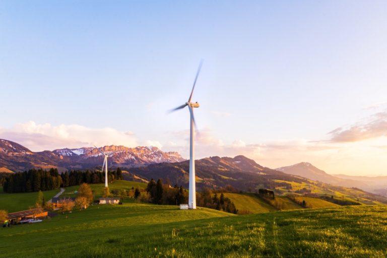 windmills on a field
