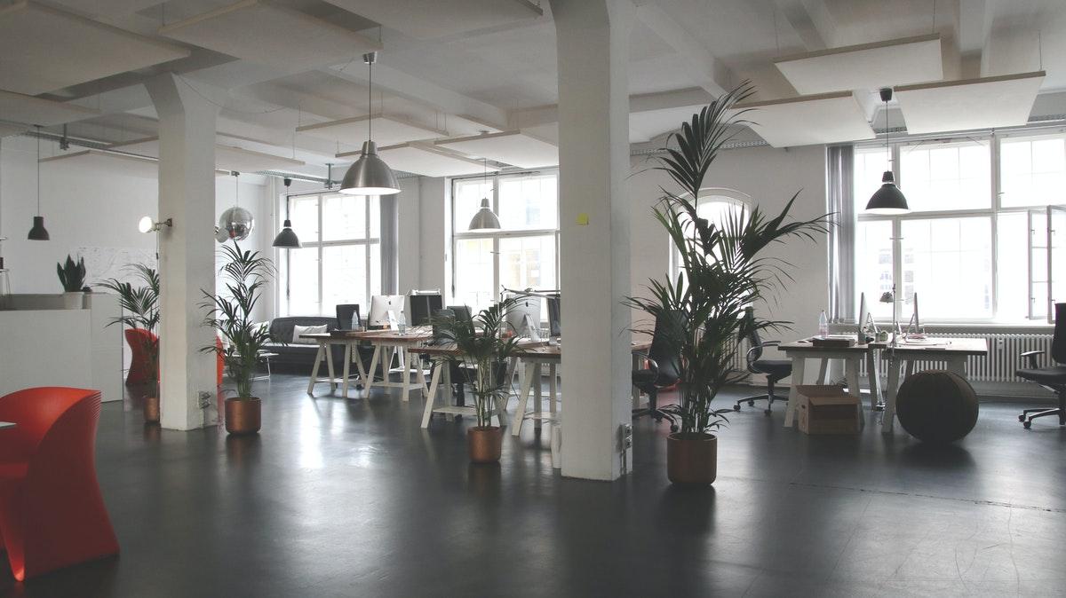 clean open plan office
