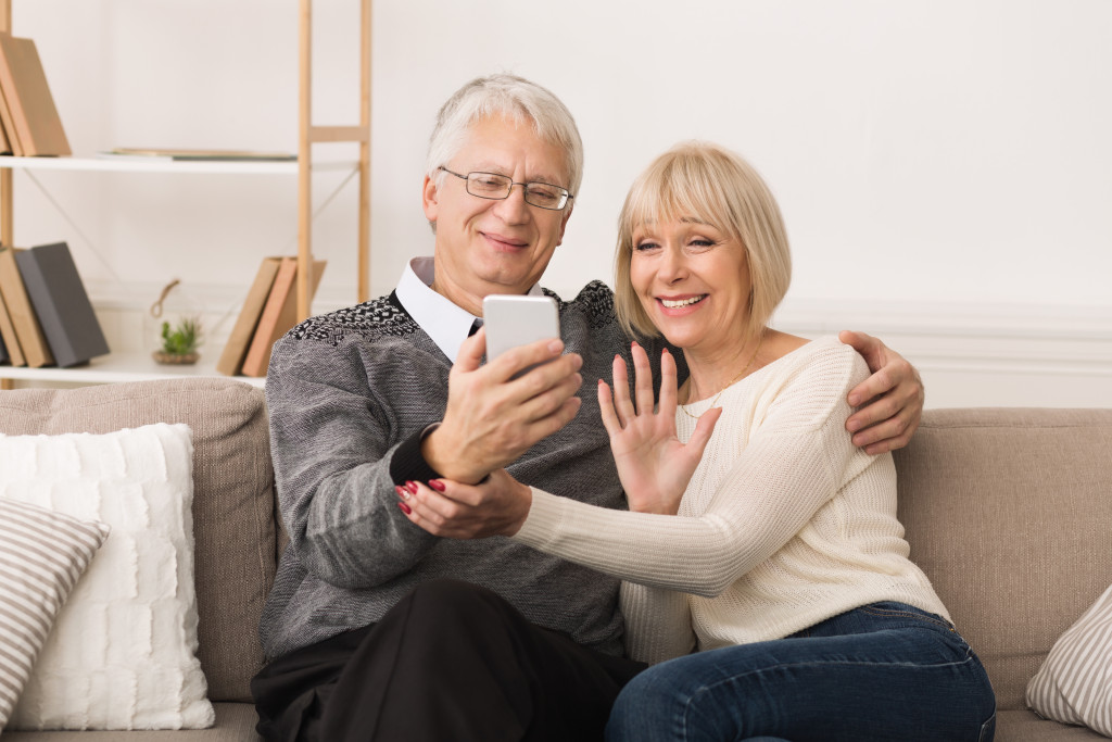 older couple in a video call